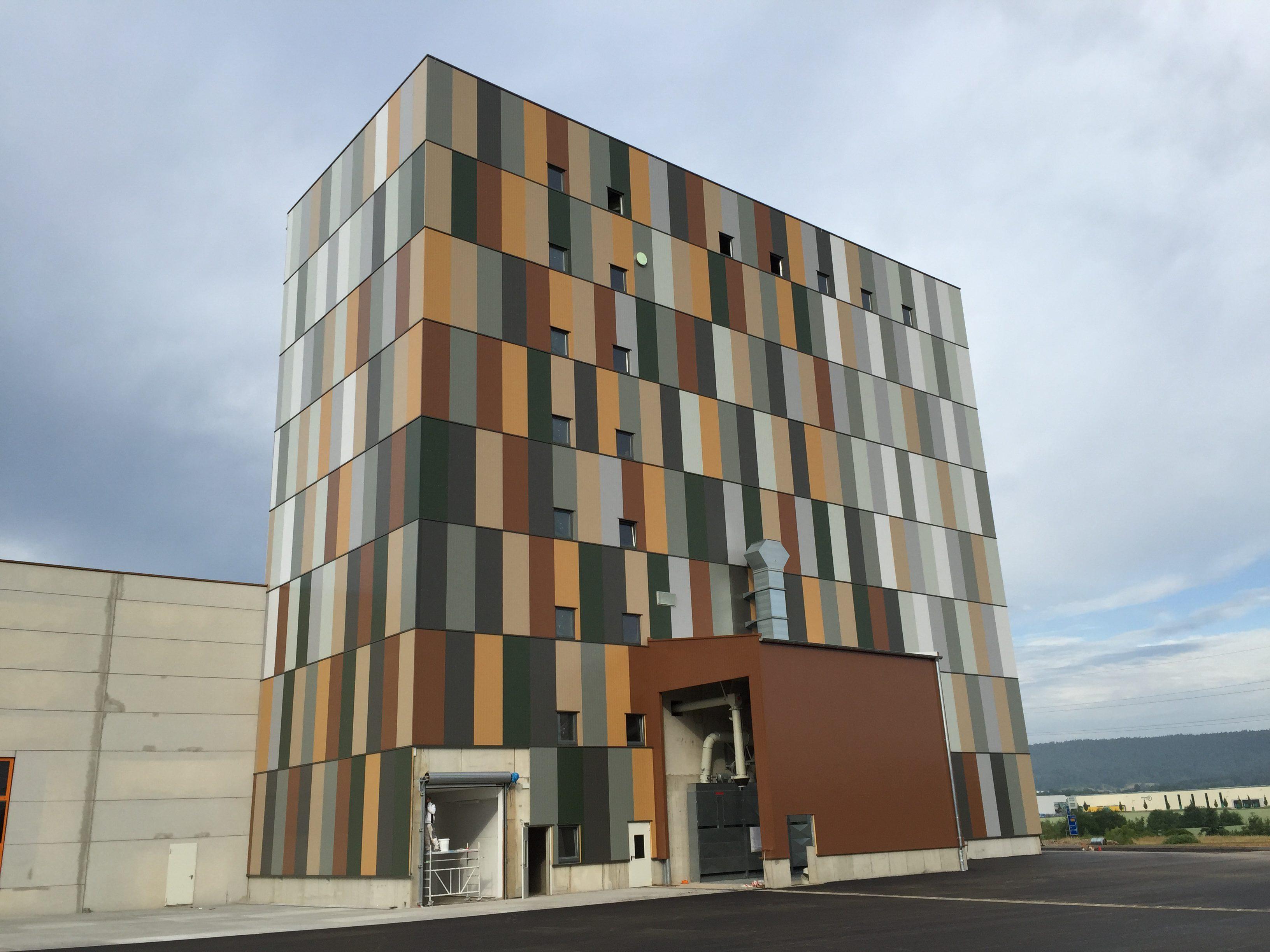 Square silo facade