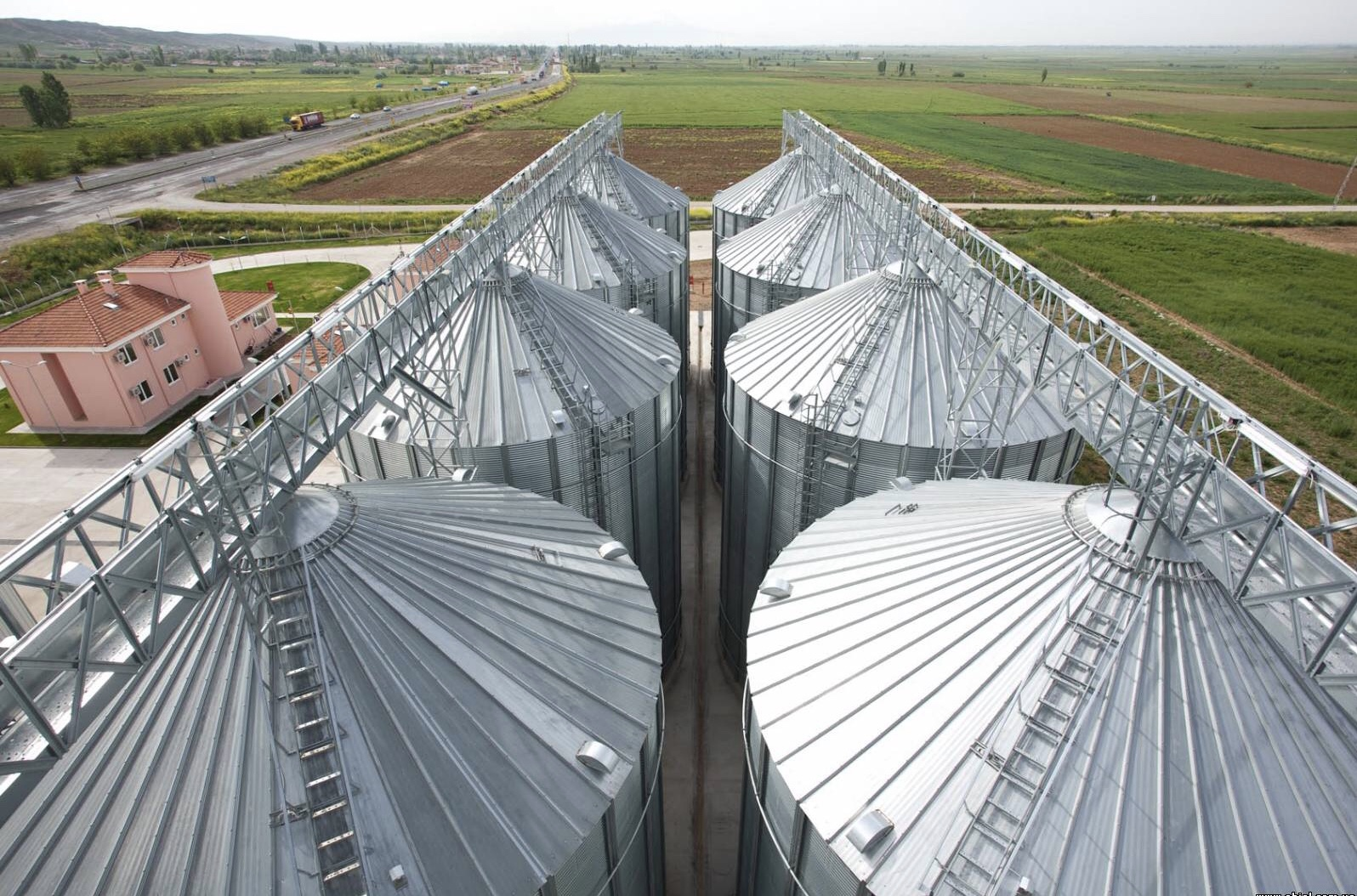 Silos, catwalk top view