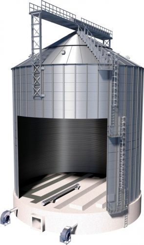 Flat bottom silo inside