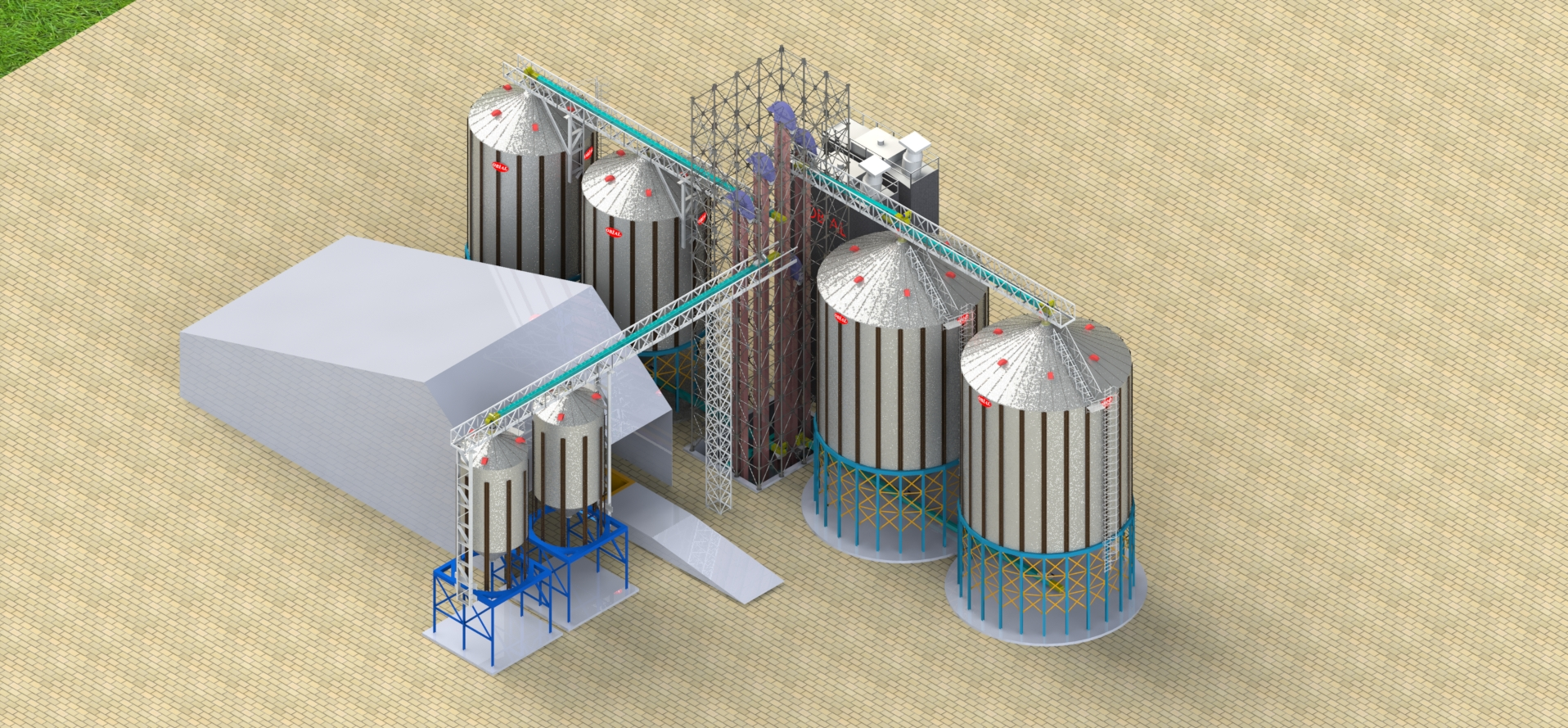 Conical bottom silos with dryer project