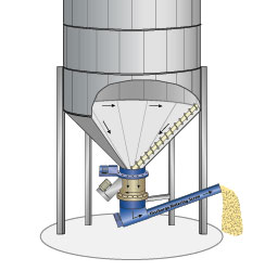 Silo with conical bottom discharge system