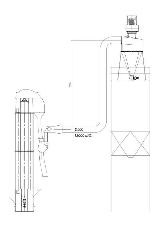 Graudu caurplūdes aspirators ar ciklonu (variānts)
